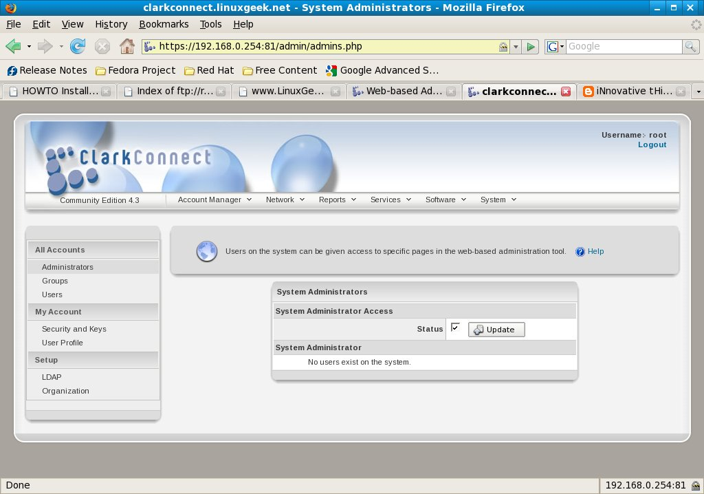 Users on the System can be given access to specific pages on the Web-based administration tool