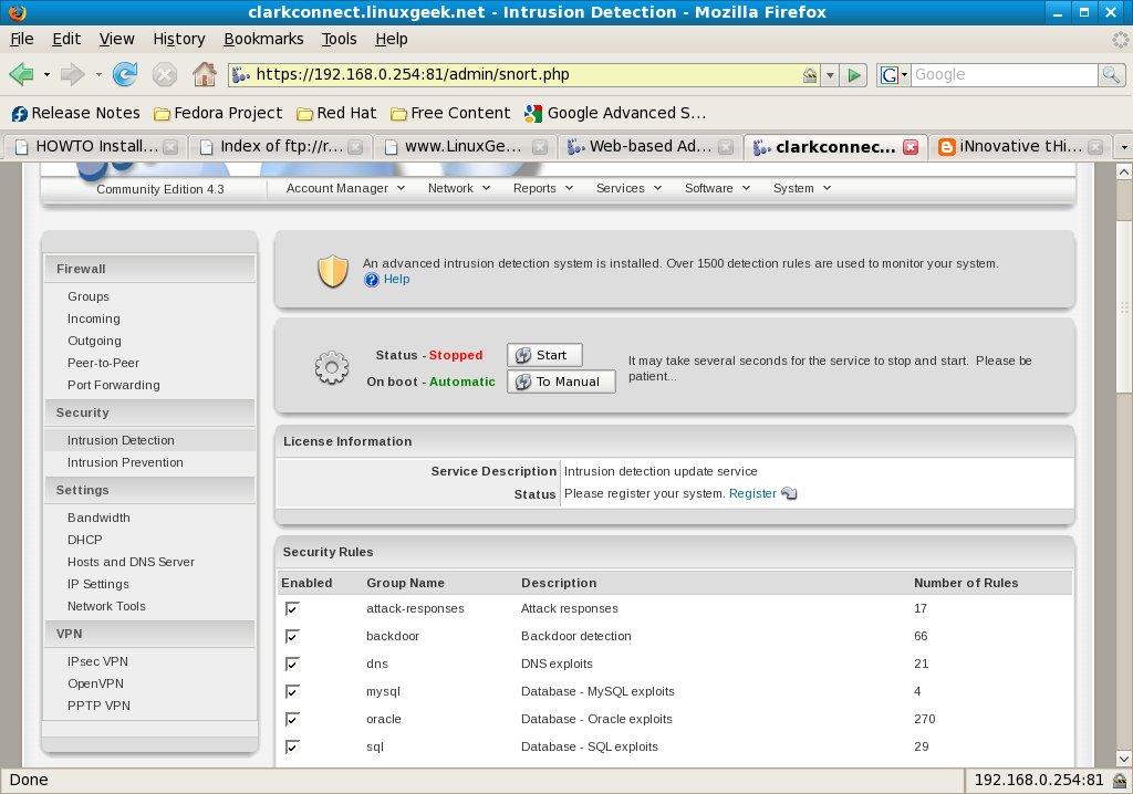 Configure Intrusion Detection System
