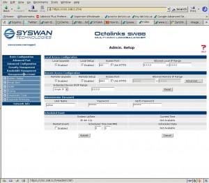 SysWan Admin Setup Screen